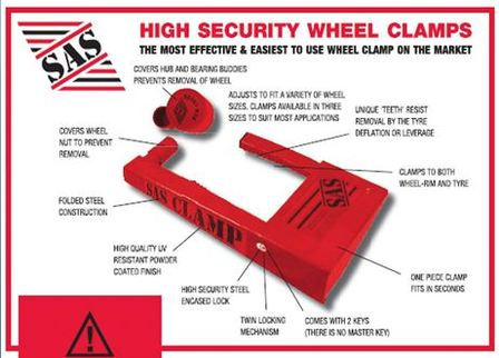 Sas wheel clamp for Safe and secure products